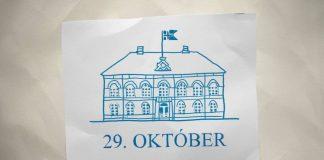 Útprenguð mynd af alþingishúsinu, fyrir neðan stendur 29. október